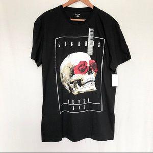 Black- Skull and Roses Legends never Die T Shirt